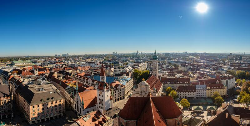Munich panorama and cityscape on Viktualien market stock photos