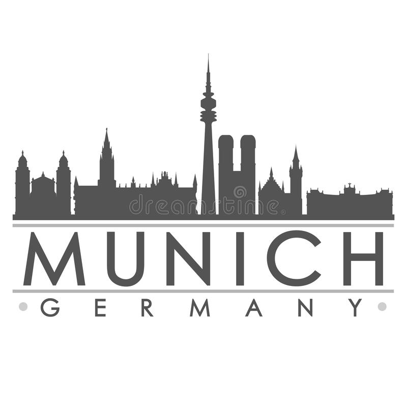 Munich Silhouette Design City Vector Art. A icon of Munich with the emblematic buildings stock illustration