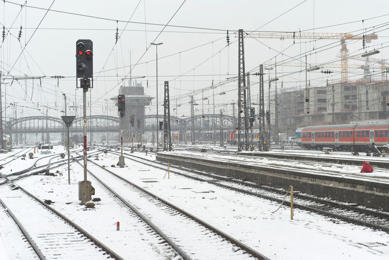 Munich Train Station in the Snow. Munich Train Station on a Gray Snowy Day stock photography