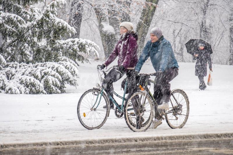 Munich Tyskland - Februari 17 2018: Cykelchaufförer som tycker om körning under snöstormen arkivbild