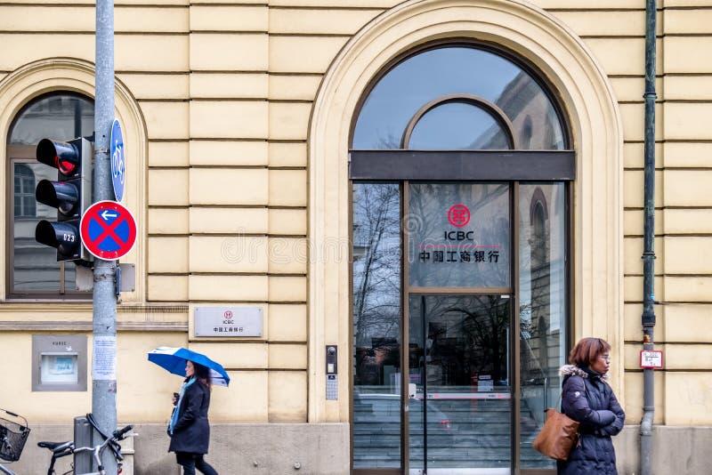 Munich Tyskland - Februari 15 2018: ICBCEN är den största banken för porslin` s royaltyfri foto