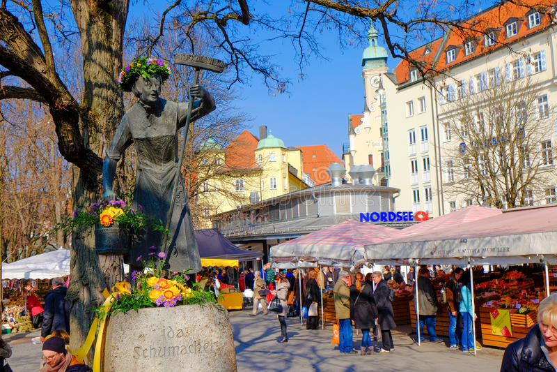 Munich Viktualienmarkt na mola fotografia de stock royalty free