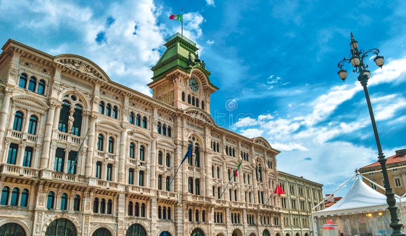 Municipal building of Trieste in Piazza Unita D Italia - Friuli Venezia Giulia region - Italy stock images