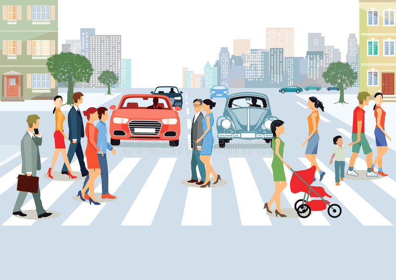 Municipal Community with people and cars. Colorful illustration of urban environment with people, couples and families on pedestrian crossing with cars stopped vector illustration