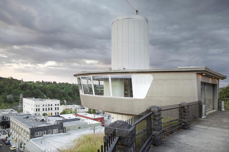 Municipal Elevator Observation Deck in Oregon City. View of Oregon City Downtown Along Willamette River from Municipal Elevator Observation Deck at McLouglin stock image