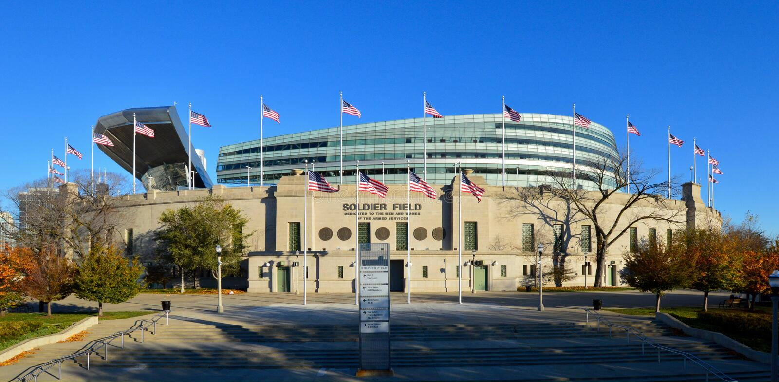 Municipal Grant Park Stadium. This is a picture of Soldier Field in Chicago, Illinois, the oldest stadium in r the NFL. Designed by Holabird & Roch and modeled stock image