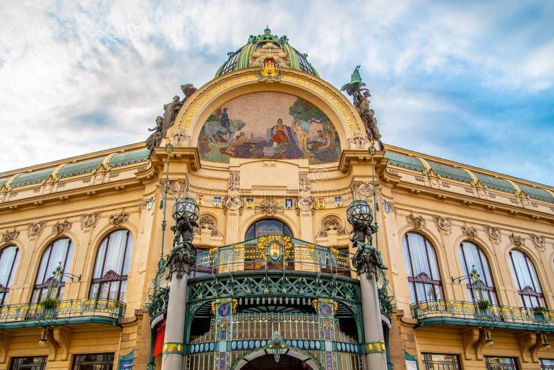 Municipal House - Art Nouveau historical building at Republic Square, Namesti republicky, in Prague, Czech Republic.  stock images