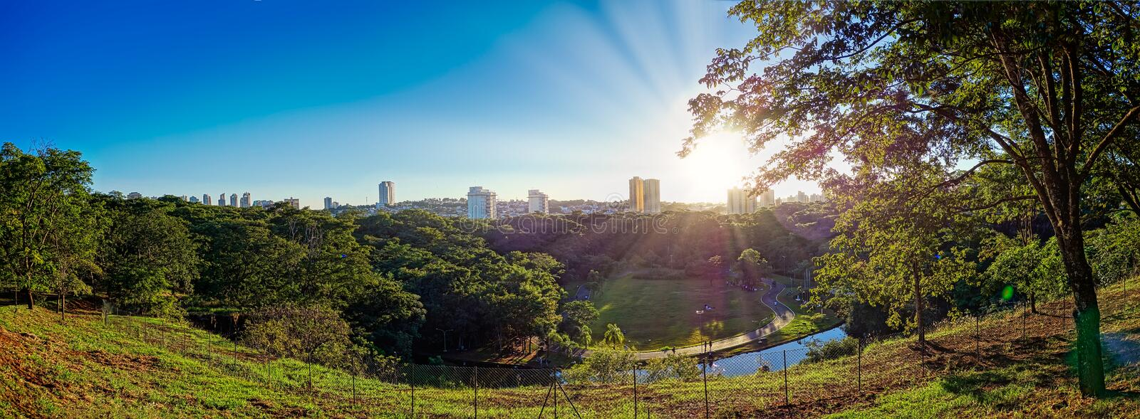 Municipal park of Ribeirao Preto - Sao Paulo, Brazil, panoramic view of the city of Ribeirao Preto from the municipal park. Curupira at dusk with blue sky royalty free stock image