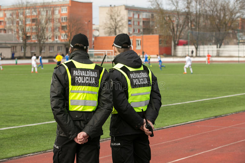 Municipal police of Daugavpils keep order stock photography