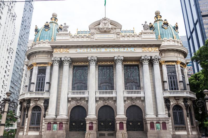 Municipal Theatre in downtown Rio de Janeiro stock images