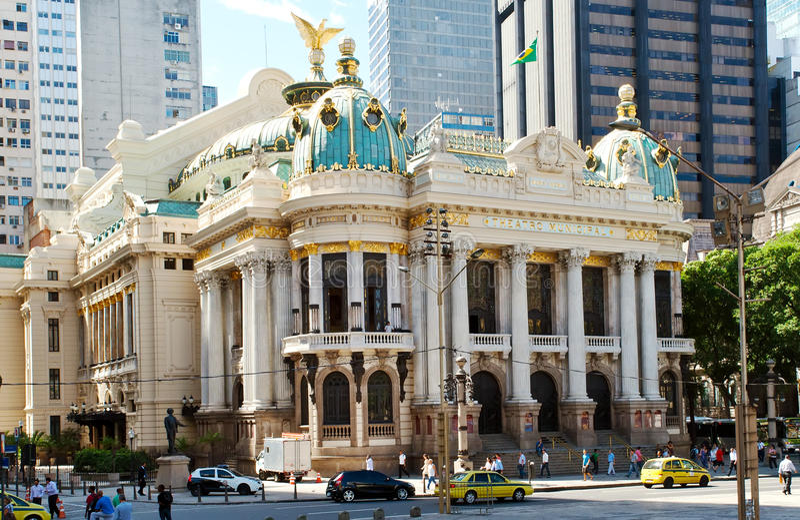 The Municipal Theatre in Rio de Janeiro. Brazil stock photography