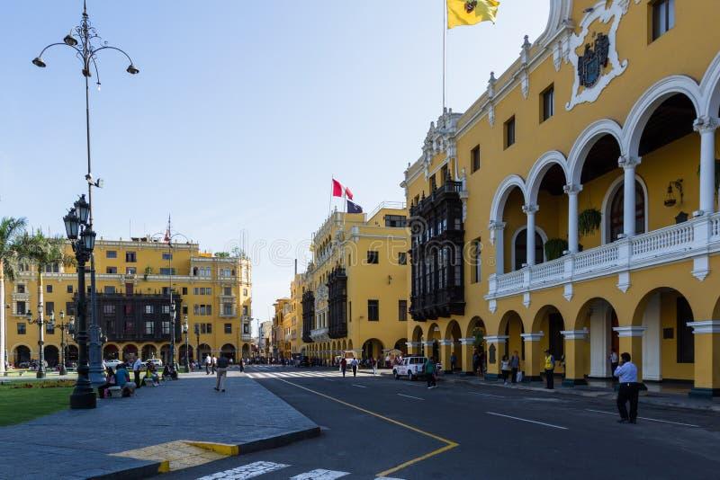 Municipalidad de Lima, kommunal byggnad arkivbilder