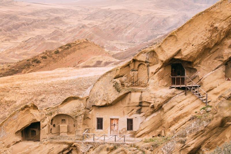 Municipalité de Sagarejo, région de Kakheti, la Géorgie David Gareja Monastery Complex orthodoxe géorgien Roche-taillé antique photo stock