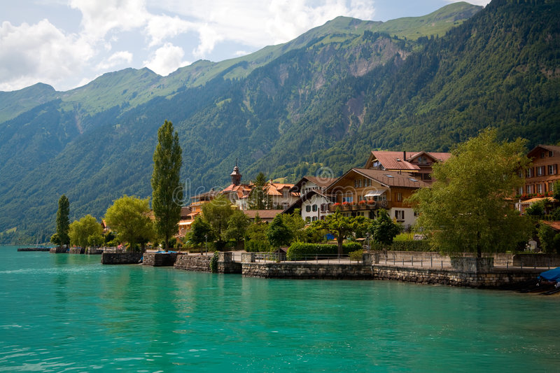 Municipality of Brienz, Berne, Switzerland. This is a view of the lake and Municipality of Brienz in the district of Interlaken in the canton of Berne in royalty free stock photos
