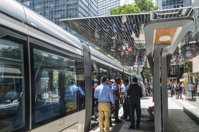 Municipality of Rio de Janeiro introduced VLTs vehicle light rail in 2016, which runs in the downtown district royalty free stock photos