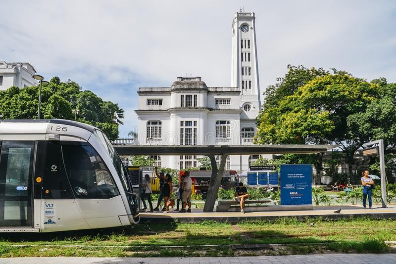 Municipality of Rio de Janeiro introduced VLTs vehicle light rail in 2016, which runs in the downtown district stock image