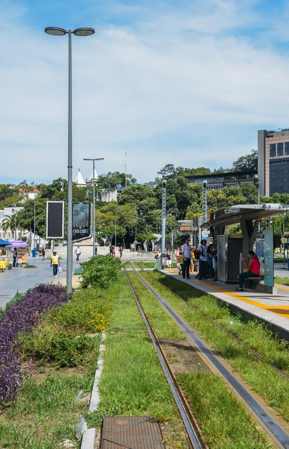Municipality of Rio de Janeiro introduced VLTs vehicle light rail in 2016, which runs in the downtown district royalty free stock photography