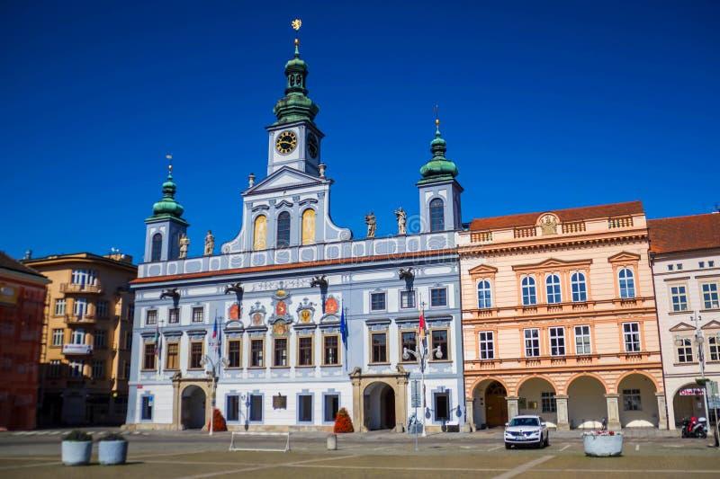 Municipio in Ceske Budejovice, repubblica Ceca fotografia stock libera da diritti