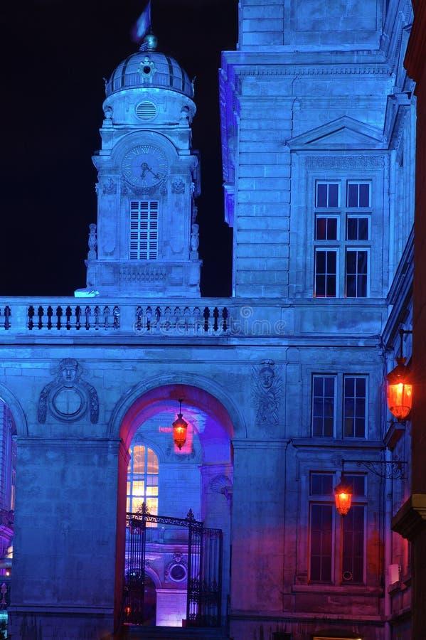 Municipio di Lione alla notte immagini stock