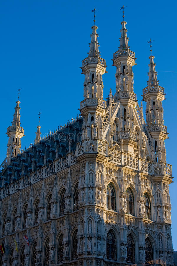Municipio gotico di Lovanio immagine stock