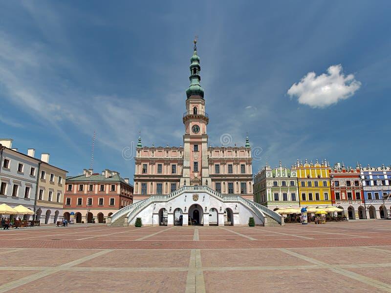 Municipio in Zamosc fotografia stock