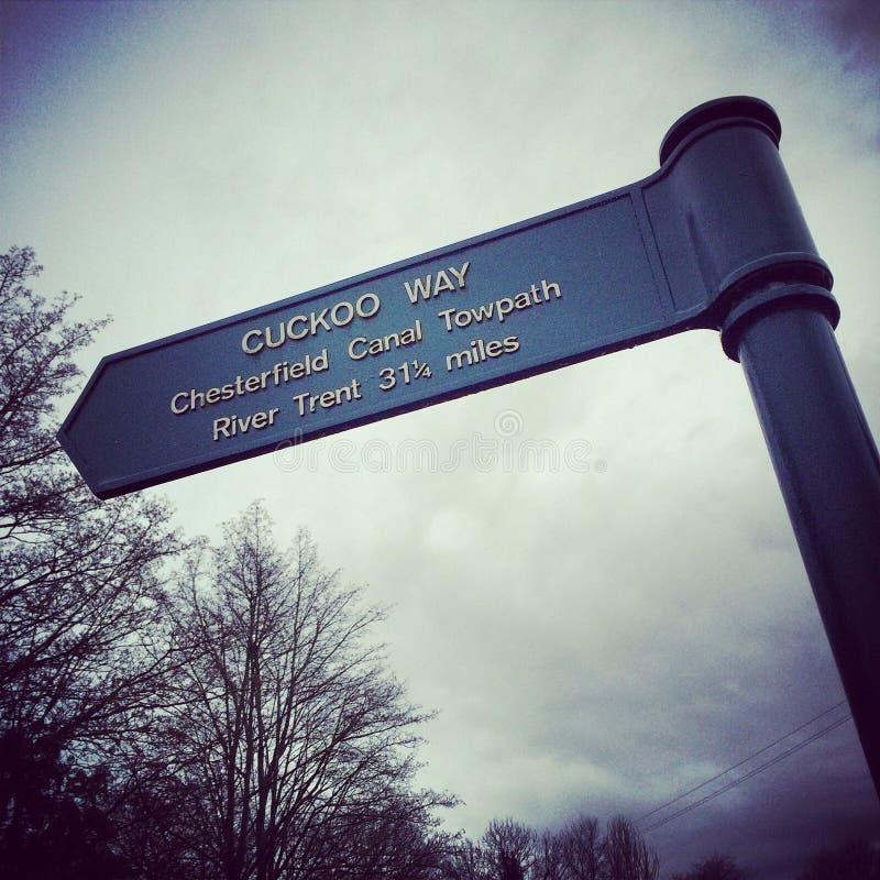 Munisca di segnaletica per il modo del cuculo nel canale di Chesterfield fotografie stock libere da diritti