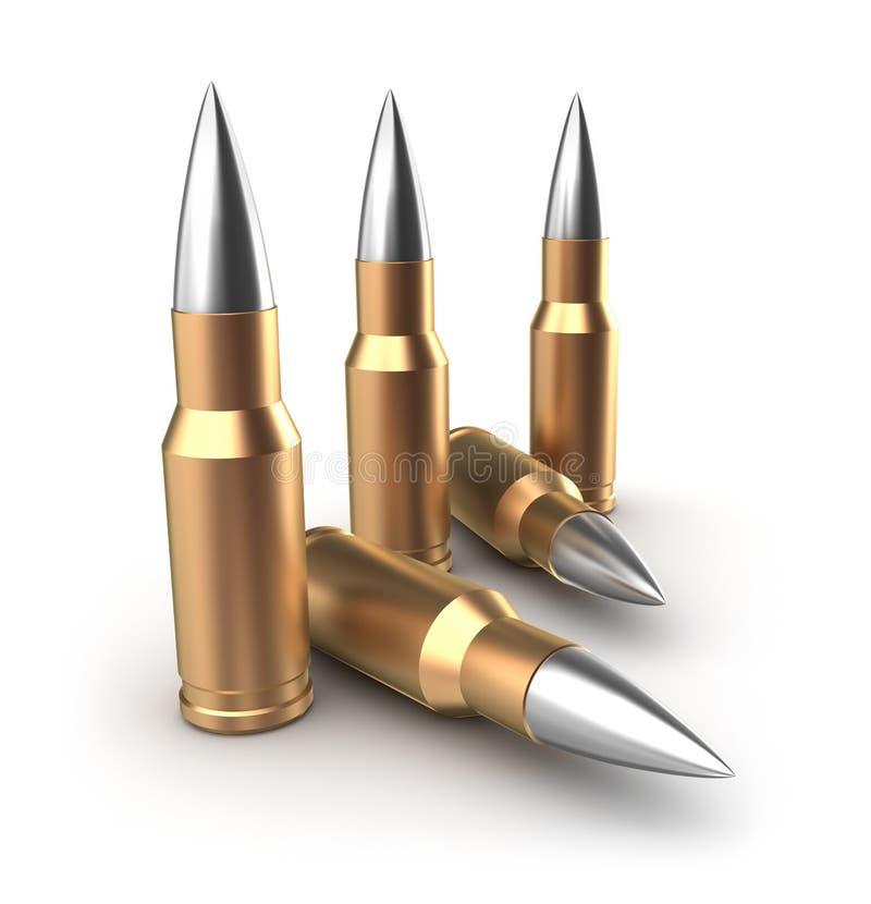 Munitie catridges met kogels stock illustratie