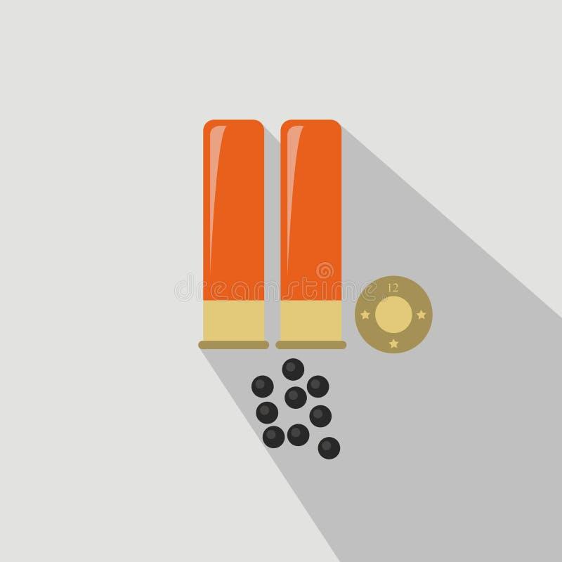 Munitions d'arme à feu de chasse Style d'appartement et de bande dessinée Illustration de vecteur illustration libre de droits