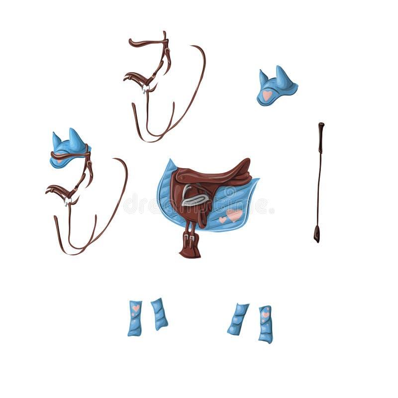 Munizioni di un cavallo per dressage, sella da salto, voltrap, frusta, orecchie, briglia, fasciature royalty illustrazione gratis