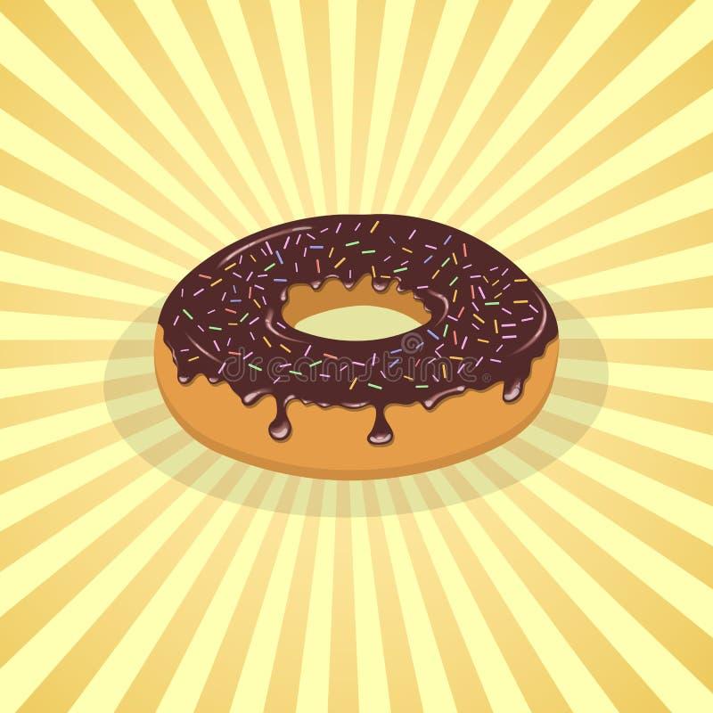 Munk med chokladisläggning och stänk - den gulliga tecknade filmen färgade bilden Beståndsdel för menyn, förpacka som annonserar vektor illustrationer