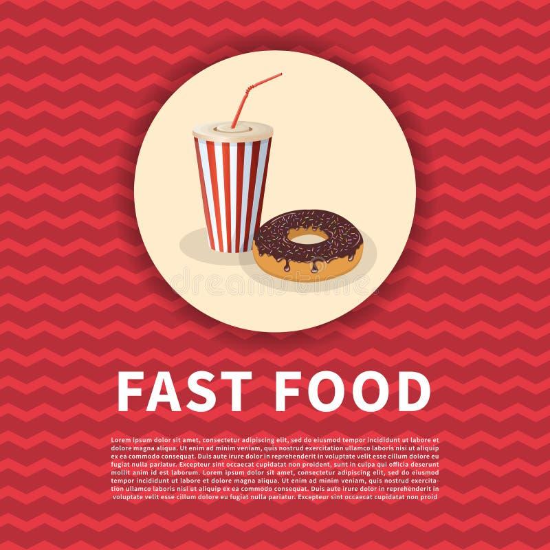 Munk med chokladisläggning och stänk och sodavattenkoppaffischen Gullig tecknad film färgad bild av snabbmat grönsaker för bakgru royaltyfri illustrationer