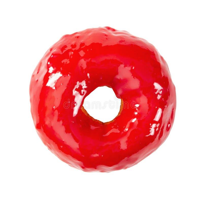 Munk med ljus röd glansig spegelglasyr arkivfoto