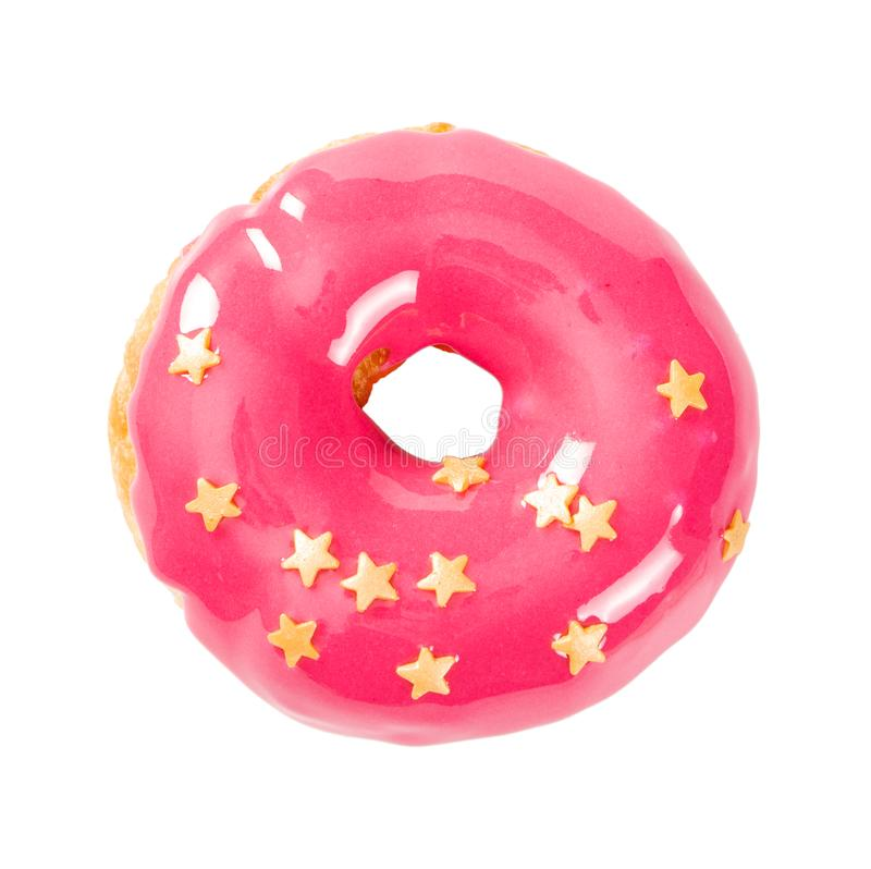 Munk med rosa glansig spegelglasyr arkivfoto