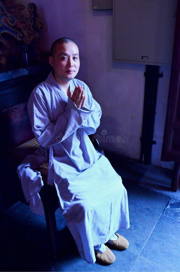 Munk Shanghai Jade Buddha Temple royaltyfri fotografi