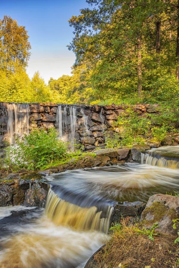 Munka Ljungby Salmon Ladder und Wasserfall stockfoto