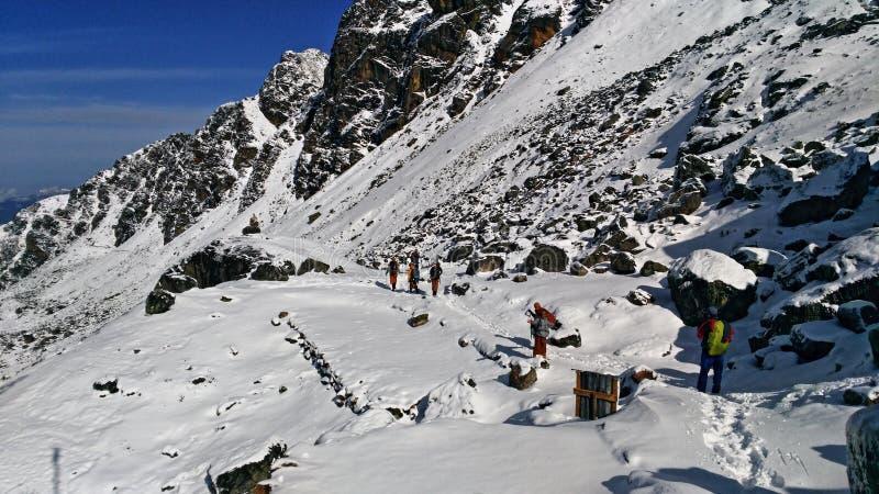 Munkar i snön royaltyfri bild