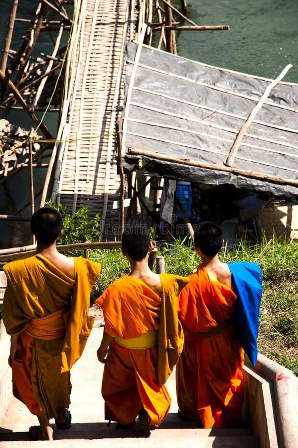Munkar - Luang Prabang - Laos arkivbilder