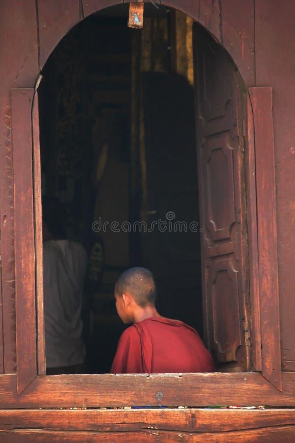 Munkar sitter på fönstret royaltyfri fotografi