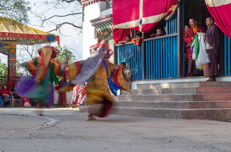 Munkar utför maskerad och kostymerad dans av tibetan buddism under Chamdansfestivalen Dansare gjorde suddig rörelse royaltyfri bild