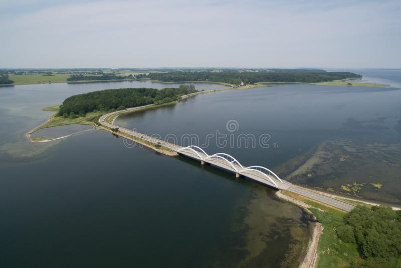 Munkholm桥梁,丹麦鸟瞰图  库存照片