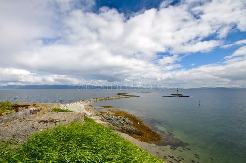 Munkholmen美好的风景海岸线, 库存图片