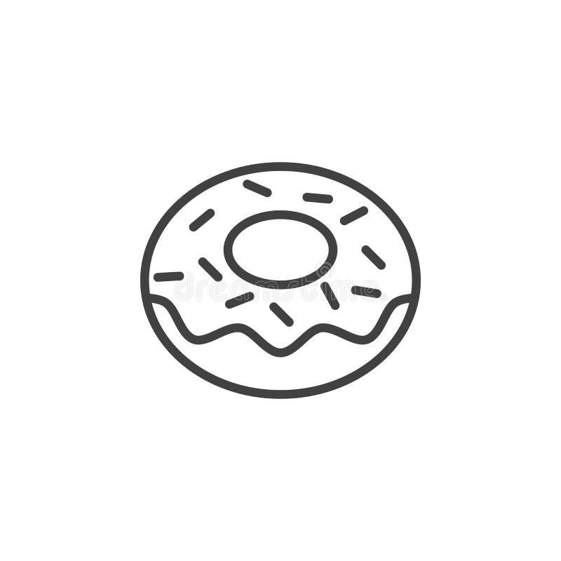 Munklinje symbol, översiktsvektortecken, linjär pictogram som isoleras på vit vektor illustrationer