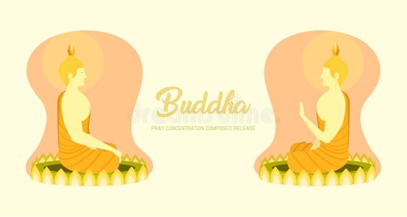 Munkphraen buddha lämnade rätsidasikt att sitta på lotusblomma som grunden för ber den samlade frigöraren för koncentration Bakgr stock illustrationer