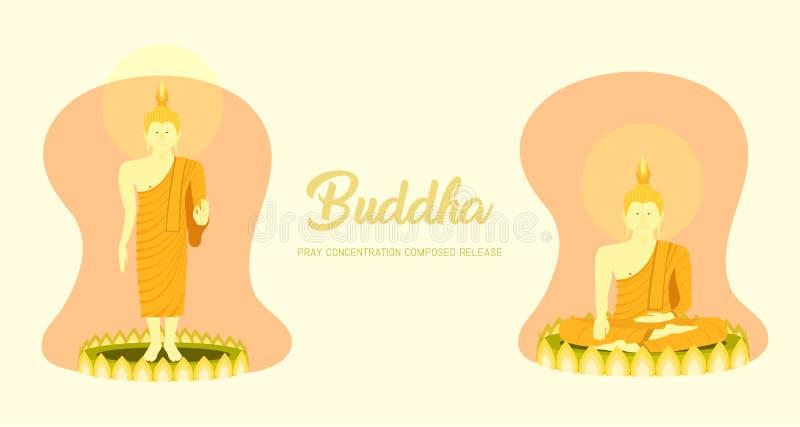Munkphraen buddha som sitter och står på lotusblommagrunden för, ber den samlade frigöraren för koncentration Bakgrund f?r pastel stock illustrationer