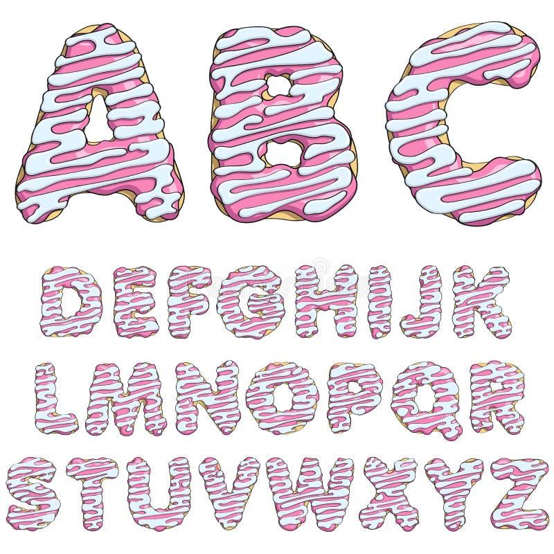 Munkstilsort, smakliga alfabet objekt stock illustrationer