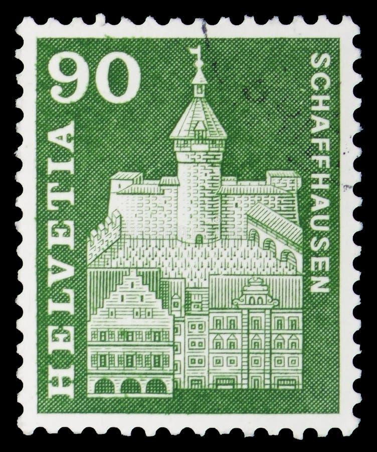 Munot σε Schaffhausen, τα ταχυδρομικά κίνητρα ιστορίας και τα μνημεία serie, circa 1963 στοκ φωτογραφίες με δικαίωμα ελεύθερης χρήσης