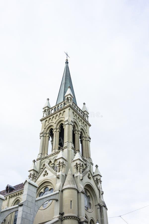 Munster in het kapitaal van Bern van van de de hoekmening van Zwitserland het lage oriëntatiepunt van het de kerktoerisme histori royalty-vrije stock afbeeldingen