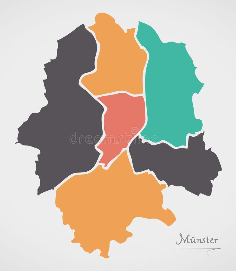Munster Map with boroughs and modern round shapes. Munster Map with boroughs and modern round shape illustration royalty free illustration