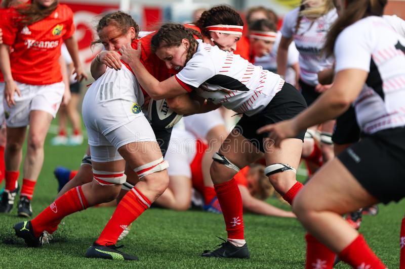 Munster Women Rugby 38 vs Ulster Women Rugby 12 match at the Irish Independent Park royalty free stock images