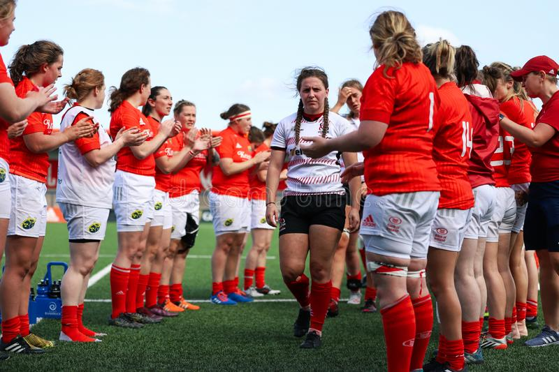 Munster Women Rugby 38 vs Ulster Women Rugby 12 match at the Irish Independent Park stock photography